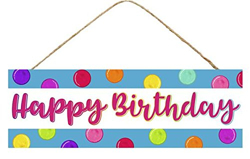 Craig Bachman Happy Birthday Wooden Door Sign (12.5 Inches x 6 Inches)]()