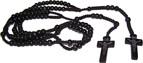 Pair of Black Wooden Rosaries with Velvet bags - Colored Wooden Beads Rosary Necklaces with Jesus Imprint Cross