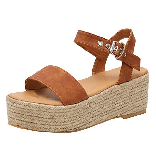 - Toimothcn Women's Open Toe Ankle Strap Espadrille Sandal Summer High Bottom Platforms Sandals(Brown2,US:8)