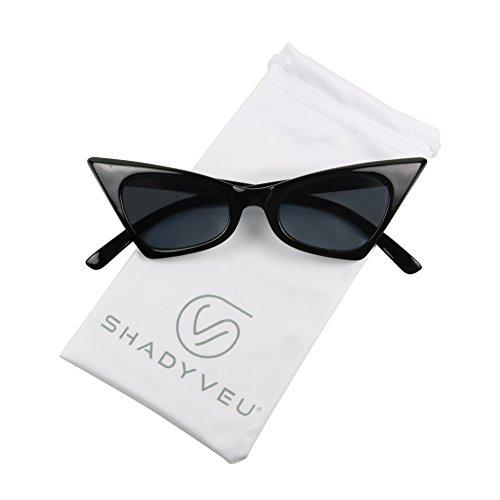 ShadyVEU - Small Retro Pointed Vintage Frame Tinted Cat Eye Pointy Sunglasses (Glossy Black Frame, Smoke Black Lens)