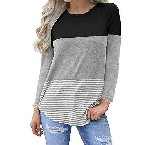 haoricu Women Blouse, Fall Women Fashion Three Quarter Floral Striped Splicing T-Shirt Casual Tops (M, a-Black)