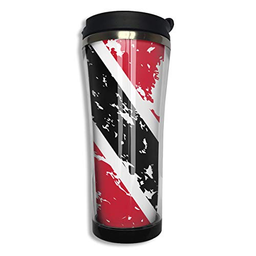 COLOMAKE Tumbler Travel Mug Trinidad and Tobago Flag Gift Food Grade ABS Mug Insulated Both Cold & Hot Beverage Cup for Home Outdoor with Lid 14 Oz (420 Ml)
