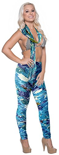 la-leela-100-cotton-women-stretchy-one-size-floral-leggings-scarf-wrap-blue-fathers-day-gifts-spring