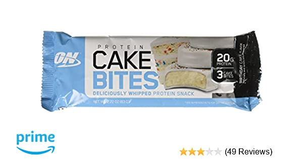 Amazon Optimum Nutrition Birthday Cake Bites Whipped Protein Snack Bar 12 Count In Single Box Health Personal Care