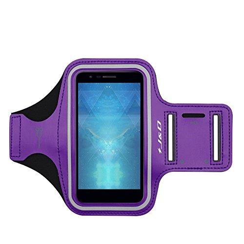 J&D Armband Compatible for LG Phoenix Plus/LG K30 / LG K10 2018 Armband, Sports Armband with Key Holder Slot for LG Phoenix Plus Running Armband, Perfect Earphone Connection While Workout - Purple