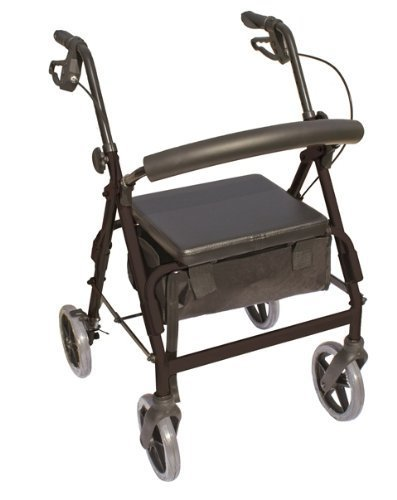 Essential Medical Supply The Blazer 4 Wheel Walker with 8 Wheels and Pouch/Basket in Black by Essential Medical Supply