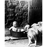 vintage baby tub - Quality digital print of a vintage photograph - Baby in Tub Black & White 11x14 inches - Matte Finish