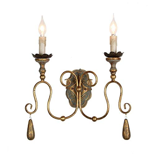 Der Wall lamp Iron Retro Lounge Aisle Nostalgia Model of Lamp in French Wood Double Room - Head Candle Wall lamp Select (Size : Gold) ()