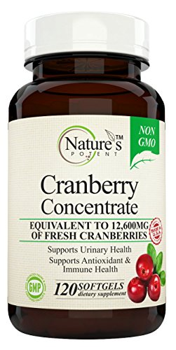 Potent Concentrate - Nature's Potent - Cranberry Concentrate, Non-GMO Supplement Equivalent to 12,600mg of Fresh Cranberries, with Vitamins C and E, 120 Softgels