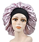 Large Silky Printing Bonnet Satin Sleep Cap Wide Elastic Band for Women Curly Natural Long Hair (Pure Pink)