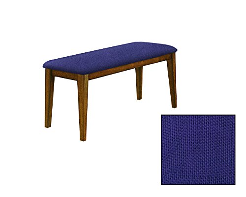 "Oak Finish 19"" Tall Universal Bench Featuring a Padded Seat Cushion With Your Choice of a Colored Burlap Covered Seat Cushion (Blue)"