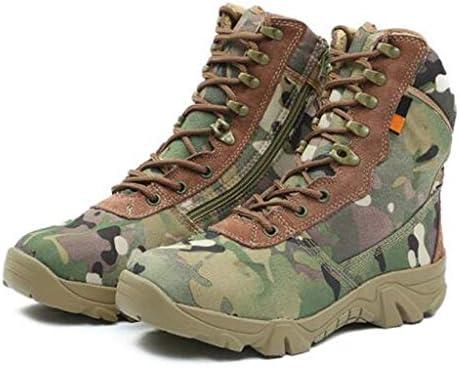 男性は滑り止めの迷彩レースアップスタイルアウトドアスポーツ用の靴ナイロン生地ラバーソールをハイキングのための砂漠の戦闘ブーツの靴 (色 : マルチカラー, サイズ : 24.5 CM)