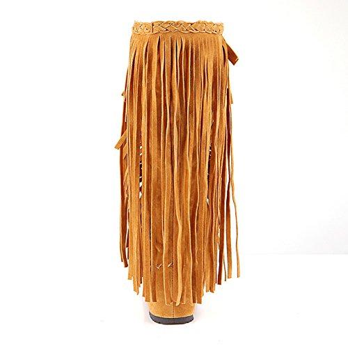 Donne Moda Adeesu Antiscivolo Giallo Pelle Stivali Nappe Sxc02076 In v67qZnF7