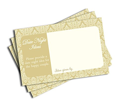 Date Night Idea Cards - Bridal Shower - Wedding - Bachelorette - Anniversary - Champagne & Ivory Damask (50-cards)