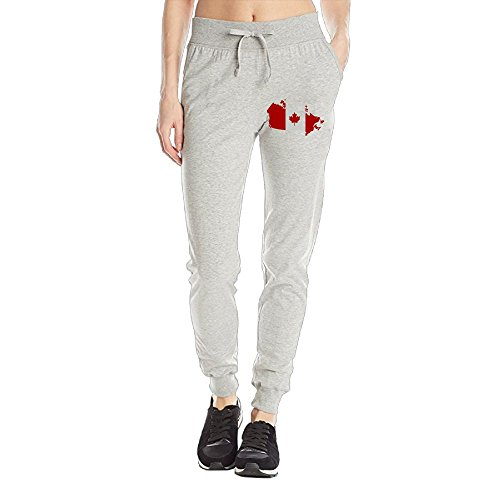 TwinkleStore Yoga Jogger Ladies Sports Pants Canadian Map With Canada Flag SXL - Canada Shipping From To Usps Us