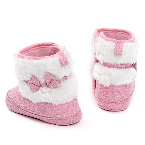 TININNA Baby Kleinkind Winter Warm Schnee Stiefel Weicher Anti-Rutsch Sohle Baumwolle Bowknot Schuhe Säugling Prewalker Krippe Schuh für 12-18 Monate Baby Mädchen Jungen Rosa