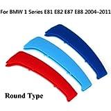 Longzhimei Fit for BMW 1 Series E81 E82 E87 E88 2004-2011 M-Colored Front Grille Insert Trim Strips Grill Cover 3Pcs (12…