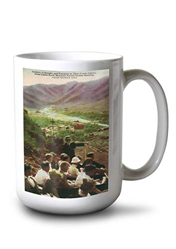 Lantern Press Golden, CO - View of Town and Clear Creek Canyon Entrance from Castle Rock Mt. Incline (15oz White Ceramic Mug)