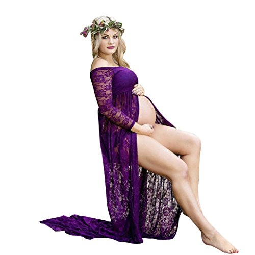 Maternity Dress, Womens Sexy Front Split Off Shoulder Long Sleeve Lace Maternity Dress for Photoshoot (L, Purple) -