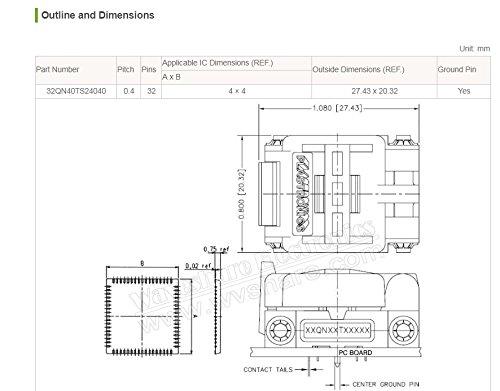 pzsmocn Test&Burn-in Socket 32QN40TS24040 Plastronics IC Test & Burn-in Socket, for QFN32, MLP32, MLF32 package Pitch: 0.4 mm