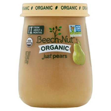 Beech-Nut 4.25 oz Organic Stage 1 Just Pears Baby Food, Pack of (Beech Nut Pears)