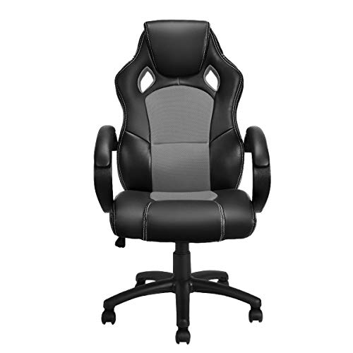 Giantex Gaming Chair Racing Style High Back Executive Office Chair Height Adjustable Ergonomice Desk Chair w/Padded Armrests, Mesh Bucket Seat and Lumbar Support (Gray)
