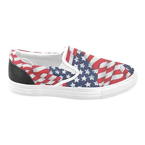 D-story Vintage Amerikanska Flaggan Kvinna Slip-on Canvas Skor Mode Sneaker