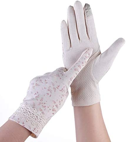 女性手袋レース綿プリントスリップ通気性アウトドアスポーツバイク日焼け止め手袋 作業用手袋 (Color : Beige, Size : L-Ten pairs)