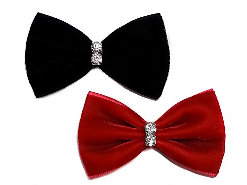 Velvet Mini Hair Bow Clip Sets with Rhinestones Collection (Alligator Clips, Red & Black)
