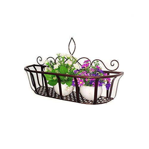 Flower Stand Hanging Iron Flower Stand - Wall Pot Rack Balcony Wall Hanging Flower Stand Rust Wall Shelf Multifunctional Decorative Frame A+ (Color : Bronze, Size : (Bronze Fall Wall Frame)