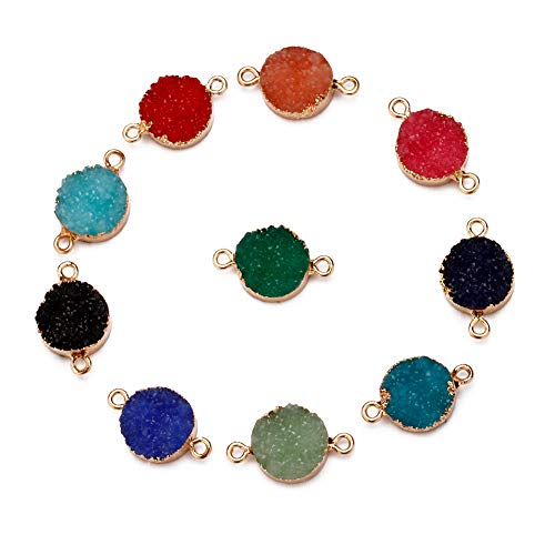 Forise 10pcs New Fashion Faux Druzy Quartz Jewelry Connector Round Resin Stone Fit for Charms Jewelry Making Bracelet Accessories ()