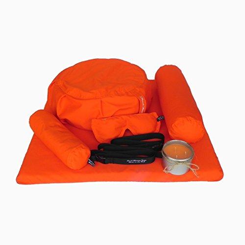 7 Piece Restorative Yoga Set -Zafu Meditation Pillow, Zabuton Cushion, Eye Pillow, Neck Bolster, Back Bolster, Soy Candle, and Strap
