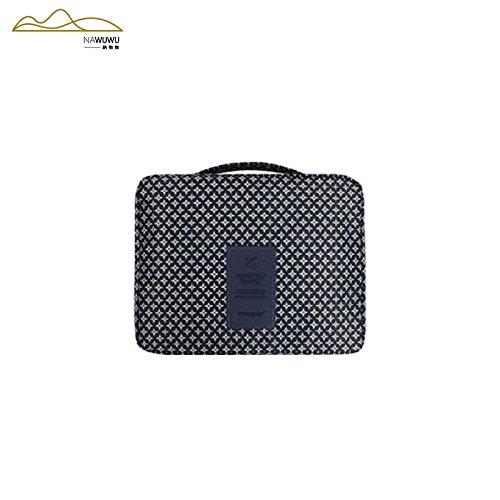 LULANEine schöne kleine frische retro Hocker portable Kosmetiktasche Kulturbeutel Mädchen reisen zugeben, 21 * 18 * 8 cm, dunkel blauen Sternen.