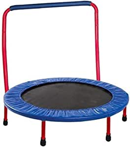 GYMENIST Kids Trampoline Portable & Foldable - 36 Inch. Durable Construction with Padded Frame Cover and Handle Bar - Red Blue