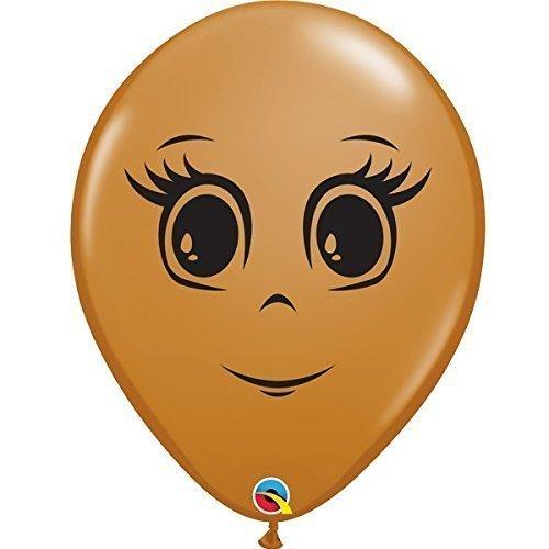 Mocha Latex Brown (Qualatex Feminine Face 16 Inch Latex Balloons (Mocha Brown, 5 Pack))