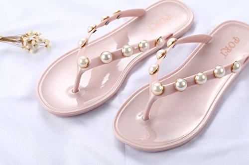 Plage Perles Plates Beginning Rose Avec De Tongs Auspicious ngzqUZ