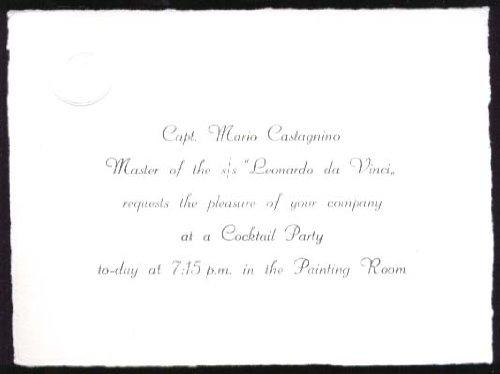 S S Leonardo da Vinci Captain's Cocktail Party invite