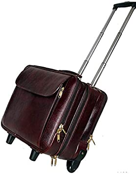 RICHSIGN Leather Accessories 42 Ltrs Brown Leather Cabin Trolley Bags for Men Travel with 2 Wheels