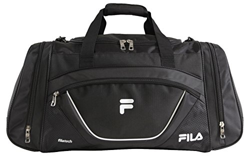 Fila Acer Large Sport Duffel Bag, Black/White, One Size by Fila