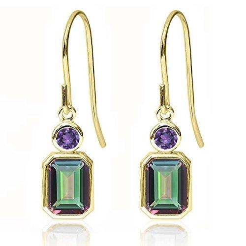 14K Yellow Gold Octagon Green Mystic Topaz & Purple Amethyst Women's Earrings (2.20 - Ring 14k Love Gold