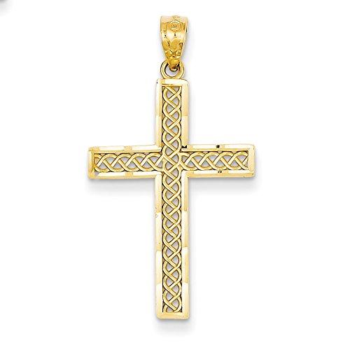 14k Yellow Gold Diamond-cut Filigree Cross Pendant for -