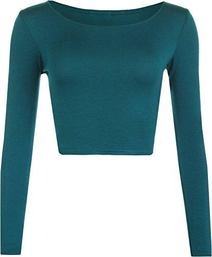 Ladies Girls Round Neck Long Sleeve Crop Top T-Shirt US Size 6-12 (M/L (US 10-12), Teal)
