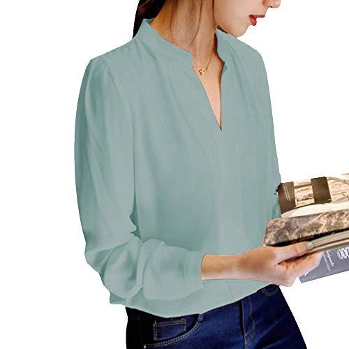 Chemisier Affaires Longue Shirt pour Top Chemise V Chiffon Manche Printemps Business Casual Decha Cou Loose Unie Vert Automne en Couleur Chic T Femme S4YxgRwqwn