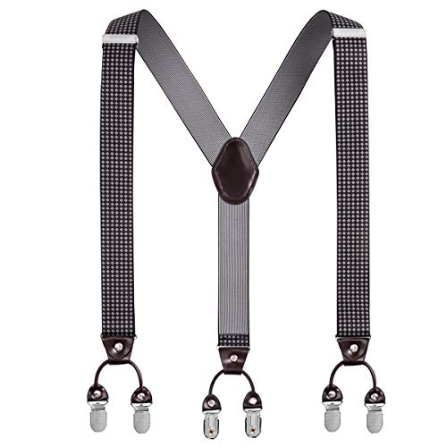 Y Back Mens Suspenders, with 6 Heavy Duty