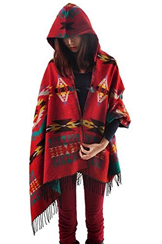 Amy Babe Aztec Print Bohemian Blanket Poncho Cape Shawl Tassel with Hoodie Cloak (One Size(XS-L), Red)
