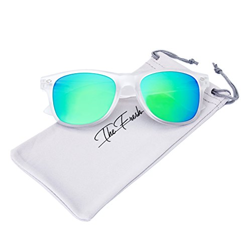 The Fresh Matte Frosted Frame Reflective Colored Mirror Lens Horn Rimmed Sunglasses with Gift Box (3-Frost, Green - Green Color Lenses