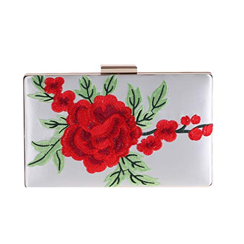 Wallet Evening Satin Women's White Clutch capacity Wallet Large Wedding Handbag Party Embroidered Rose Bag ARXq7FxX