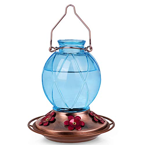 BOLITE 18016-B Hummingbird Feeder, Glass Hummingbird Feeder for Outdoors, Netted Texture Ball Shape Bottle, 18 Ounces, Blue