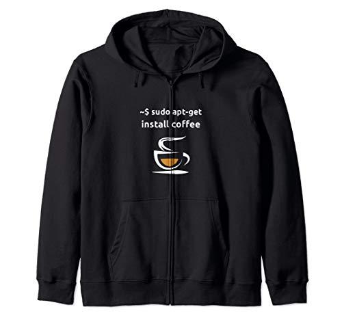 Linux Sudo Apt-Get Install Coffee, Sysadmin Computer Geeks Zip Hoodie