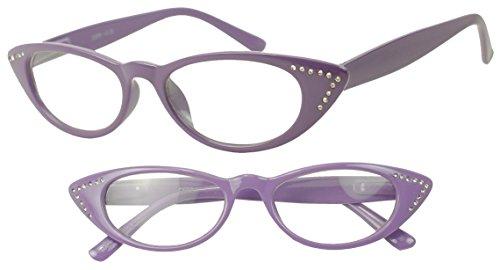 Purple Vintage Cat Eye Rhinestones Rx +1.50 Strength Optical Reading Readers Glasses - Woman (Purple, - Rx Glasses Sale